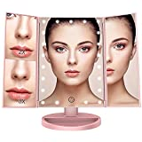 BESTOPE Vanity Makeup Mirror 1x/2x/3x Magnification Trifold 21 LED Lights with Touch Screen and USB Charging, 180 Degree Adjustable Stand for the Countertop Cosmetic Makeup Mirror-Rose Golden