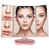 BESTOPE Tischspiegel Schminkspiegel Beleuchtet mit 21 Leuchtmittel Make Up Spiegel 2X/3X Vergrößerung für Arbeits/Tischplatte Bewegliche Kabellose Stromversorgung durch Akku oder USB-Aufladung(Rosa Gold)