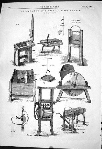 Technik von 1879 R.A.S. Zeigen Sie Kilburn Alte Werkzeug-Rüben-Schneider-Gers...