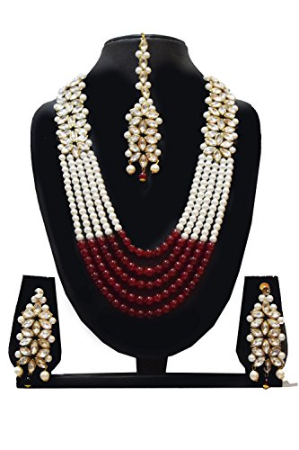 Traditional Jewellery Kundan Pearl Necklace Set with Earrings For Women