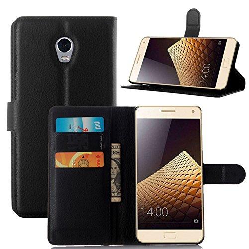 Tasche für Lenovo Vibe P1 Hülle, Ycloud PU Ledertasche Flip Cover Wallet Case Handyhülle mit Stand Function Credit Card Slots Bookstyle Purse Design schwarz