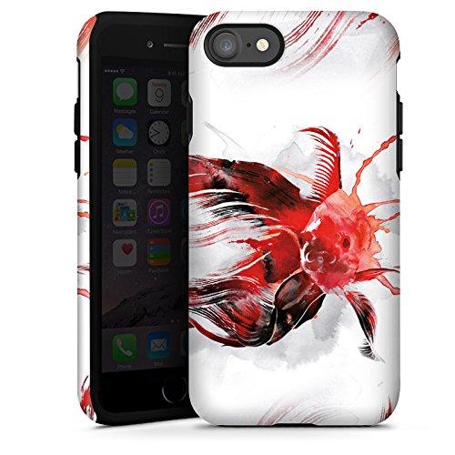 Apple iPhone X Silikon Hülle Case Schutzhülle Fisch Kunst Goldfisch Tough Case glänzend