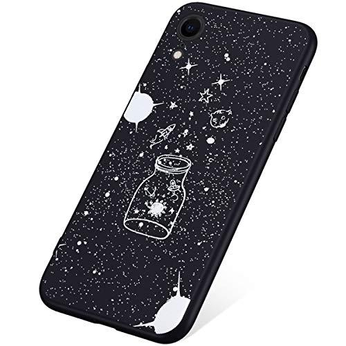 SainCat kompatibel mit iPhone XR Hülle Silikon Schwarz Motiv Ultra Dünn Stoßfest Handyhülle Nicht Durchsichtig Weicher TPU Bumper Case Anti-Scratch Schützhülle für iPhone XR-Sternenhimmel
