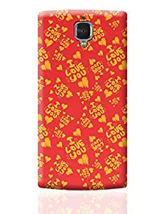 PosterGuy One Plus 3 Case Cover - I love you hand draw hearts seamless pattern | Designed by: DesignerChennai