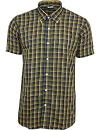 Relco hommes marine moutarde carreaux jaunes manche courte boutonné chemise mod peau rétro indie