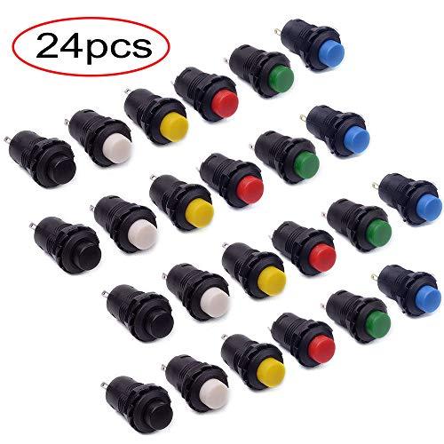 RUNCCI 24 Stk. Ein/Aus-Taster Rund Drucktaster 12mm DS-425A ON/OFF selbst Latching Push Button Switch 6 Farbe