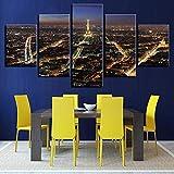 mmwin Moderno Lienzo Impreso Sala de Estar Fotos 5 Panel Edificio de París Vista Nocturna Modular Wall Art Home Decor Cartel