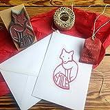 Personalisierter Stempel mit Fuchs -Motive - Geschenkidee für Geburt, Taufe, Hochzeit, Weihnachten, Geburtstag - Handmade