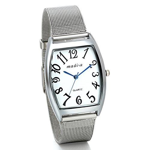 JewelryWe Relojes de Mujer, Design Minimalista con Cinturino Ultrafino Milanes, Orologio Simpatico e Carino Rectangular Argenteo, 2016 Nueva Moda