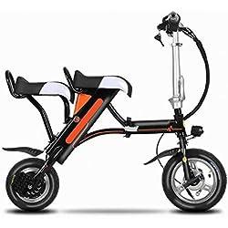 Scooter Eléctrico de Dos Ruedas Plegable ,Negro,12 pulgadas)