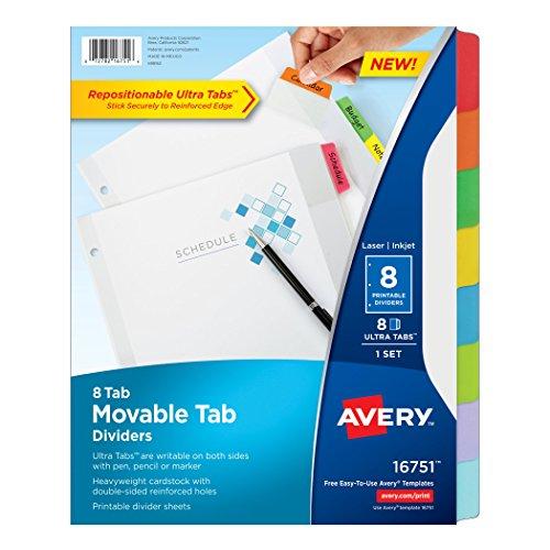 Avery Dennison weiß bewegliche Tab Teiler, mehrfarbig (Avery Teiler Weiß)