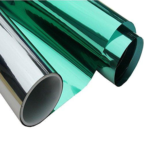 HOHO Window Film Vinyl Solar Tint Privacy Sun Block High Reflective Mirror Stickers,Green Silver,35.4