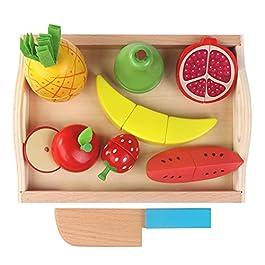Decdeal Giocattolo Bambini 9Pcs Taglio di Frutta e Ortaggi di Legno Gioco Magnetico Pretend della Cu
