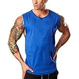 HCFKJ T-Shirt Blusen Herren, Fitnessstudio Bodybuilding Fitness Muskel ärmelloses Unterhemd T-Shirt Top Weste Tank (M, Blue)