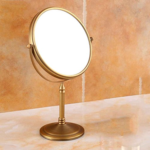 Miroirs De Salle De Bain Antique en Laiton Double Face Salle De Bains Pliant Rétractable Salle De Bains De Salle De Bains en Laiton Double-Face 3X sur Le Dos