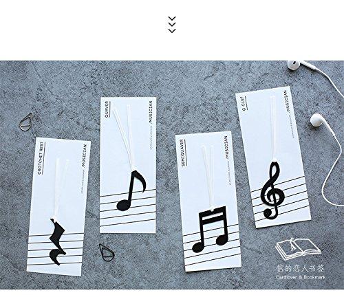 Happy Star 4PC nero note musicali segnalibri per libri cute Book marcatori con nastro Marker