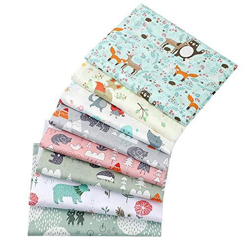 8 Stück 40 cm x 50 cm Nashorn- und Bär-Drucke, 100% Baumwolle, Stoffquadrate, zum Nähen, Scrapbooking, Quilten, Kunst für Patchwork