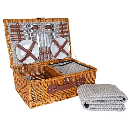 Mendler Picknickkorb-Set HWC-B25 für 4 Personen, Weiden-Korb + Kühlfach, Porzellan Edelstahl, Beige 4 Beige Körbe