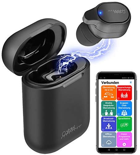 Callstel Liveübersetzer: 2in1-Live-Übersetzer und In-Ear-Mono-Headset mit Powerbank-Box & App (Übersetzer Englisch)