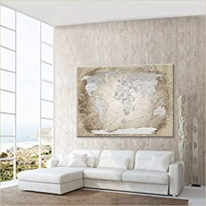 LanaKK Mapamundi con Corcho para Fijar los destinos – Mapa del Mundo Beige, inglés, lámina sobre Bastidor Camilla en marrón, Enmarcado en una Parte de 100 x 70 cm