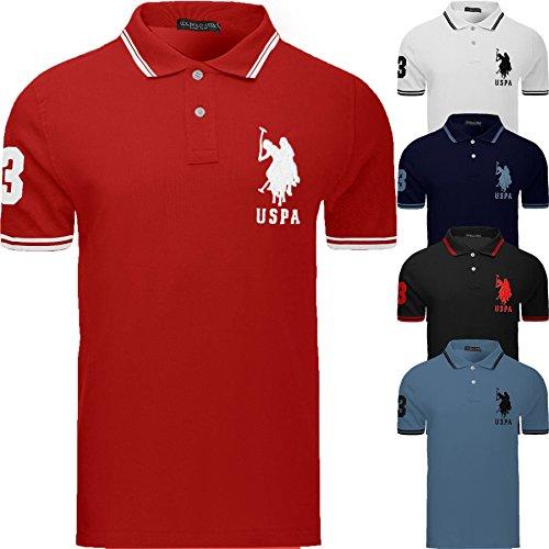 Mens US Polo Assn Design T Shirt Top Tipping Collar Short Sleeve Cotton Tee New