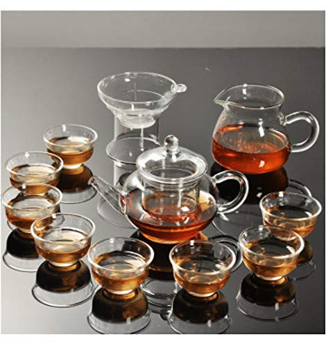 Kung Fu Tea Set Heat-resistant Transparent Glass Teapot Double-layer Small Cups Small Tea Cup Set Teapot Glass Set C Small Bone China