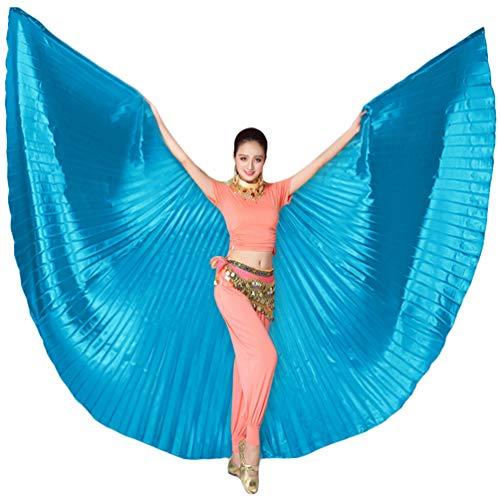 Tookang Dance Fairy Bauchtänzerin Isis Flügel Keine Sticks Tanzkostüm-Zubehör Bauch Tanz Darstellende Künste Halloween Fasching 4# Lake Blue (ohne Stick)
