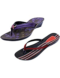 Indistar Women Comfortable Flip Flop House Slipper And Sandal-Black/Red/Purple- Pack Of 2 Pairs - B072Q455F6