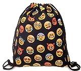 Tasche mit Kordelzug, Emoji-WIFI Cute Muster Sport Reisen Schule Gym Rucksack broschierte Ausgabe Harajuku Unisex, schwarz 2