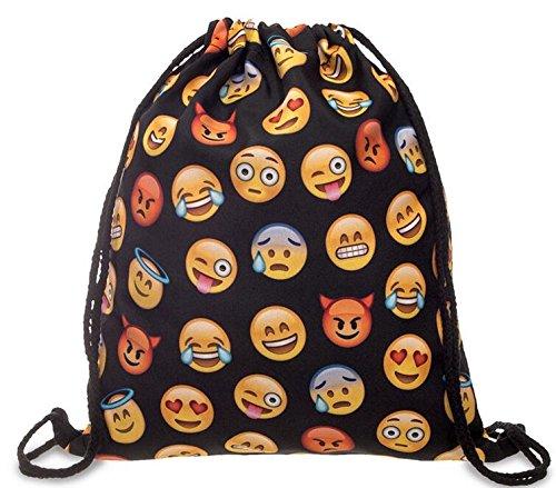 Tasche mit Kordelzug, Emoji-WIFI Cute Muster Sport Reisen Schule Gym Rucksack broschierte Ausgabe Harajuku Unisex, schwarz 2 (Kordelzug Textur)