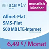 simply LTE 500 [SIM, Micro-SIM und Nano-SIM] monatlich kündbar (500 MB LTE-Internet mit max. 50 MBit/s inkl. Datenautomatik, Telefonie-Flat, SMS-Flat, 6,49 Euro/Monat) O2-Netz