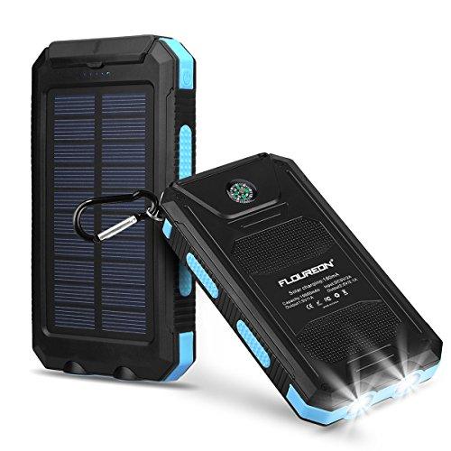 FLOUREON Solar Ladegerät Powerbank 10000mAh externes Akku Batterie Outdoor Wasserdicht mit Dual USB 2 LED-Lampen für iPhone Samsung iPad Android-Handy Tablet Smartphones usw (Blau)
