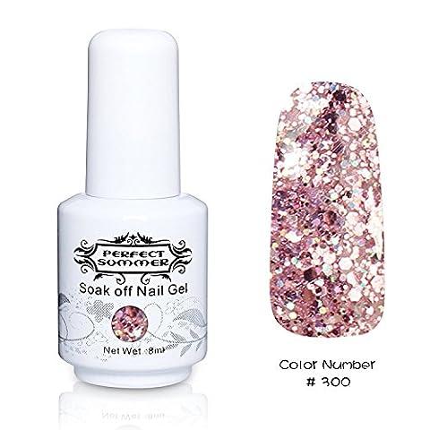Vernis à Ongles Gel Semi Permanent - Perfect Summer Soak Off UV LED Gel Nail Polish 8ml Couleur Rose Transparent à Paillettes 300