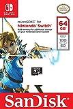 Carte microSDXC SanDisk 64 Go pour Nintendo Switch, avec Vitesse de Lecture Allant jusqu'à 100MB/S, U3
