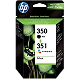 HP 350-351 - Pack de ahorro de 2 cartuchos de tinta Original HP 350 Negro , HP 351 Tricolor para HP OfficeJet y HP PhotoSmart