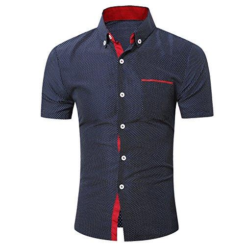 UJUNAOR Oktoberfest Männer Kurzarmhemd Business Slim T Shirt Punkt Bluse Top(Marine,CN XL)