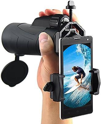 Ueasy 12x 50impermeable Monocular lado correa de mano prismáticos para la observación de aves Monocular de mano con adaptador de teléfono inteligente universal Digiscoping adaptador se conecta fácilmente la Monocular para funda para teléfono