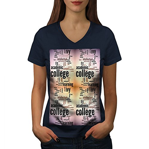 wellcoda Hochschule Studie Efeu Slogan Frau S V-Ausschnitt T-Shirt