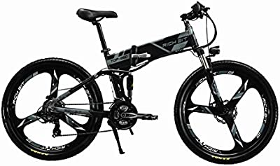 Eléctrico plegable para bicicleta de montaña para bicicleta MTB rt860250W * 36V * 8Ah 26, doble suspensión 21speed Shimano dearilleur LG células de la batería doble freno de disco, color gris