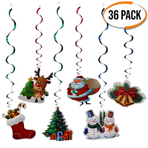 The twiddlers 36 decorazioni natalizie casa da appendere soffitto - 6 disegni natalizi diversi - ideali da appendere al soffitto e alle finestre