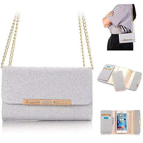 Weiße Clutch Wallet (XGUO iPhone 6 Plus 6S Plus Multifunktions Geldbörse Clutch Bling Kristall Schutzhülle Case Cover Mit 7 Kartenfächer Wallet Brieftasche abnehmbaren Magnet Handy Schutzhülle(iPhone 6 Plus/6S Plus,Weiß))