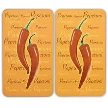 Wenko 2542439500 Peperoni - Juego de planchas protectoras para cocina (2 unidades, cristal endurecido, 52 x 1,8 x 30 cm)
