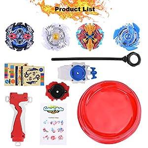 FORMIZON Beyblade Burst, 4 Pcs Conjuntos de Metal de Gyro Spinning Fusión 4D, Gyro Launcher con Estadio, Regalo para Niños de FORMIZON