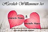 crealuxe Fussmatte Herzlich Willkommen mit Wunschname (nach dem Kauf angeben) 11 - Fussmatte bedruckt Türmatte Innenmatte Schmutzmatte lustige Motivfussmatte