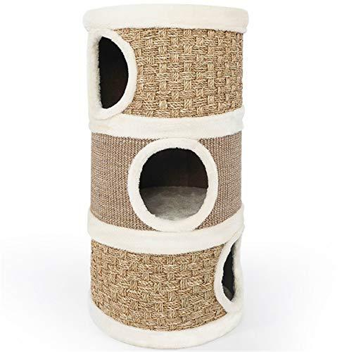 UNIQUE-F Kratzbaum, Katzenstreu, Katzenunterhaltungszentrum Haustiermöbel Dreistöckiges Haus Multifunktions-Schleifpfote -