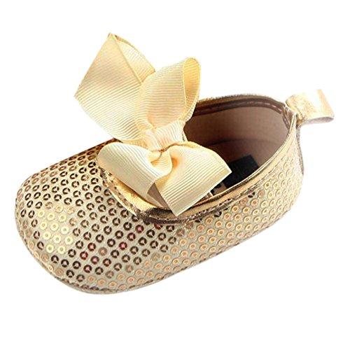 Dooxi Bébé Filles Bowknot Sequins Chaussures Princesse Ete Durable Semelle Souple Sandales Or