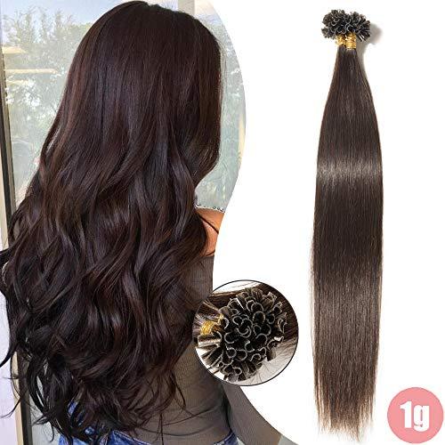 Extensions Echthaar Bondings 1g U-Tip Remy Haarverlängerung 50 Strähnen Keratin Human Hair Glatt 50g-60cm(#2 Dunkelbraun)