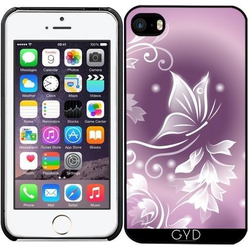 Leder Flip Case Tasche Hülle für Apple iPhone 6 Plus / 6S Plus - Rosa, Lila Schmetterling Fantasie by Nina Baydur Starre Kunststoff