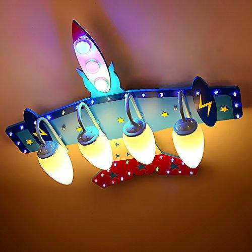 (Kinderzimmerlampe / Kinderlichter LED Deckenleuchte mit Fernbedienung Flugzeuge Junge Schlafzimmer Lampe Schutz-Augen Cartoon Beleuchtung Dreifarbiges Licht(70*72*18cm))