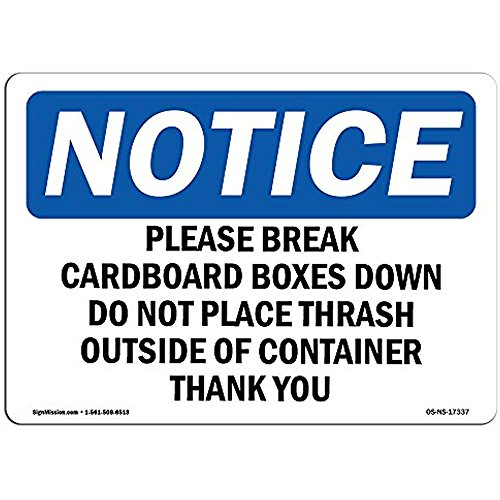 Ditooms Hinweisschild Please Break Pappboxen Down Do Not Aluminium starr Kunststoff oder Vinyl Aufkleber schützen Ihre Business Baustelle 30,5 x 45,7 cm